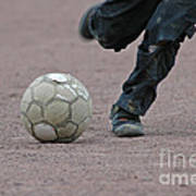 Boy Playing Soccer With A Ball Art Print