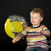 Boy Popping A Balloon Art Print