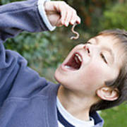 Boy Pretending To Eat An Earthworm Art Print