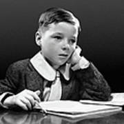 Boy Sitting At Desk W/book Art Print