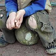 Boy Sitting On Ball - Torn Trousers Art Print