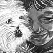 Boy With Pet Dog Art Print