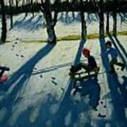 Boys Sledging Art Print by Andrew Macara