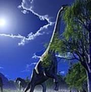 Brachiosaurus Dinosaurs, Artwork Art Print by Roger Harris