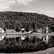 Brant Lake Reflections Black And White Art Print