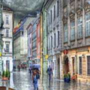 Bratislava Rainy Day In Old Town Art Print