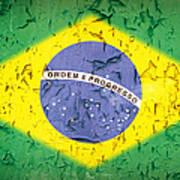 Brazil Flag Vintage Art Print by Jane Rix