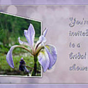 Bridal Shower Invitation - Blue Flag Iris Wildflower Art Print
