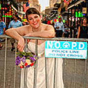 Bride And The Barricade On Bourbon Street Art Print