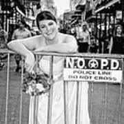 Bride On The Barricade On Bourbon St Nola Art Print