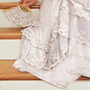 Bride Sitting On Stairs With Lace Fan Art Print