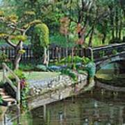 Bridge And Garden - Bakewell - Derbyshire Art Print