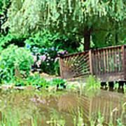 Bridge And Hydrangea Art Print