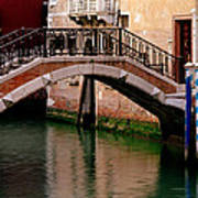Bridge And Striped Poles Over A Canal In Venice Art Print