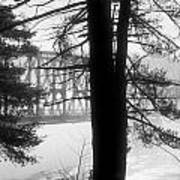 Bridge In The Fog Bw Art Print