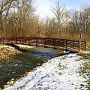 Bridge Over The Creek In Winter Art Print