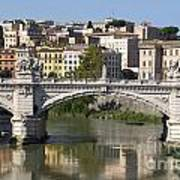 Bridge Ponte Vittorio II. River Tiber.rome Art Print by Bernard Jaubert