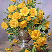 Bright Smile - Roses In A Silver Vase Art Print