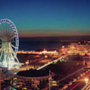 Brighton Wheel And Seafront Lit Up At Night Print by PhotoMadly