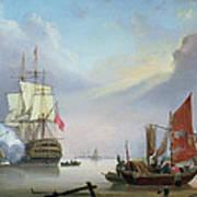 British Man-o'-war Off The Coast Art Print