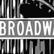 Broadway Sign Color Bw3 Art Print