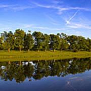 Broemmelsiek Park - Spring Reflections Print by Bill Tiepelman