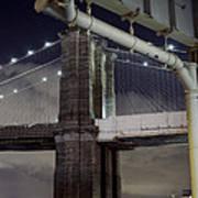 Brooklyn Bridge And A Drain Art Print