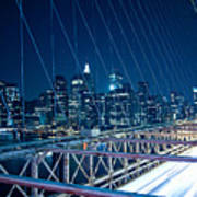 Brooklyn Bridge And Lower Manhattan By Night Art Print