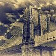 Brooklyn Bridge At Night - Blue Daguerreotype Art Print