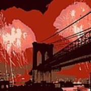 Brooklyn Bridge Fireworks Color 6 Art Print