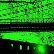 Brooklyn Bridge In Green Art Print