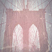 Brooklyn Bridge Red Art Print by Naxart Studio