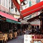 Brussels Restaurant Street - Rue De Bouchers Art Print