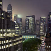 Bryant Park At Night From Roof Looking East Art Print