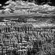 Bryce Canyon - Black And White Art Print