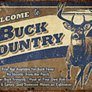 Buck Country Sign Art Print by JQ Licensing
