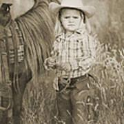 Buckaroo Cowgirl And Horse Print by Cindy Singleton