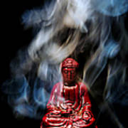 Buddha In Smoke Art Print by Olivier Le Queinec