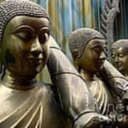 Buddhas With Umbrellas Art Print