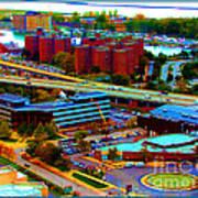 Buffalo New York Aerial View Neon Effect Art Print