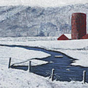 Buffalo River Valley In Snow Art Print