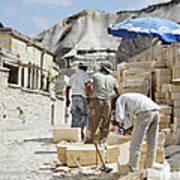 Builders Under Baking Heat Art Print