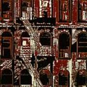 Building Facade In Brown And Red Art Print