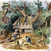 Building Houses, 17th C Art Print