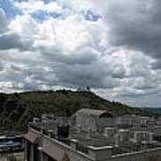 Buildings Cover The Lower Section Of A Hill That Has A Temple At The Top With Clouds Covering The Sk Art Print