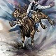 Bull Bucking His Rider Art Print