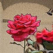 Bumble Bee And Rose Art Print