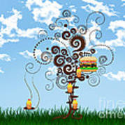 Burger Tree House And The Cupcake Kids  Art Print