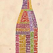 Burgundy Wine Word Bottle Art Print by Mitch Frey