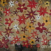 Burst Of Flowers Yellow And Red Art Print